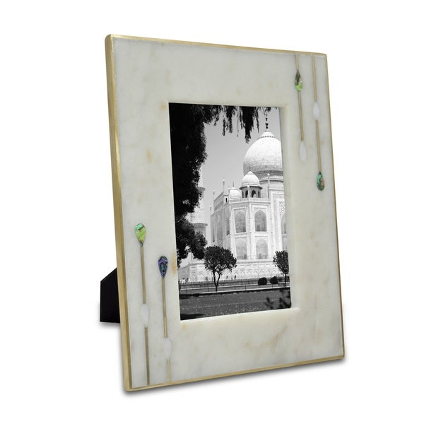White 6x6 Marble and Brass Photo Frame