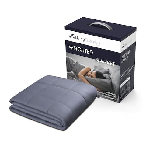 Living Essentials Weighted Blanket 15 LBS 60''x80'' Queen Size, Grey