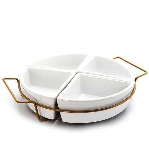 Ceramic 4 Section Serving Platter - Round Serving Tray With Metal Rack