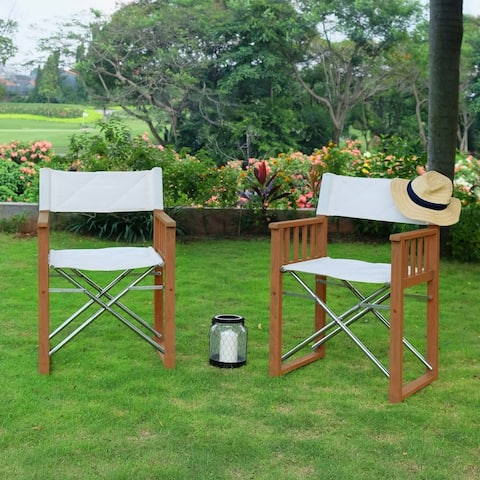 Cambridge Casual Westport Teak Outdoor Director Chair with Stainless Steel Accent (Set of 2)