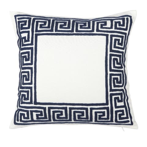 Blue and White 20-inch Embroidered Throw Pillow