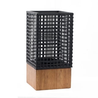 Black 10-inch Wood and Iron Geometric Candle Holder