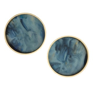 Livonia Smokey Blue and Gold Marble Trays (Set of 2)