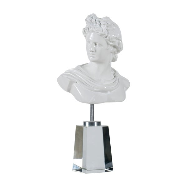 Glossy White Greek Roman Inspired Sculpture on Stand