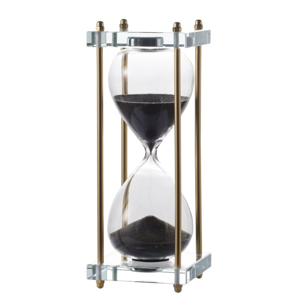 Modern Chic 10-inch Black and Brass Hourglass