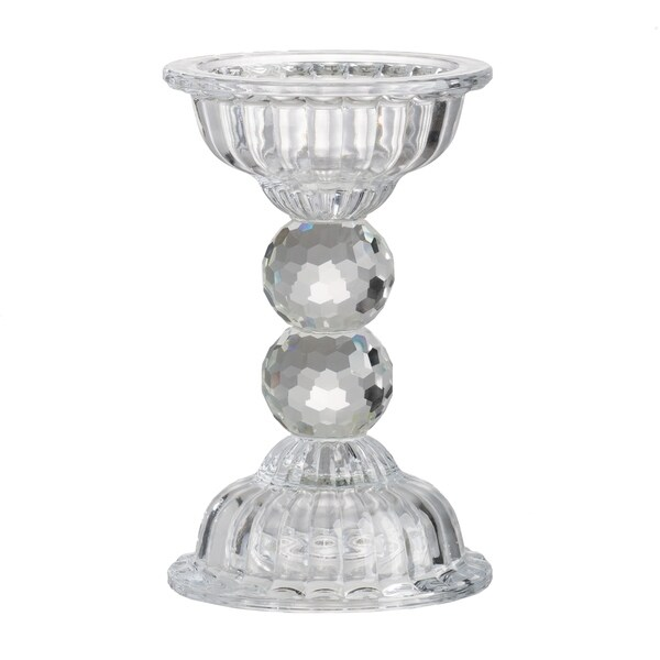 Clear Glass 9.5-inch Round Ball Stem Candle Holder