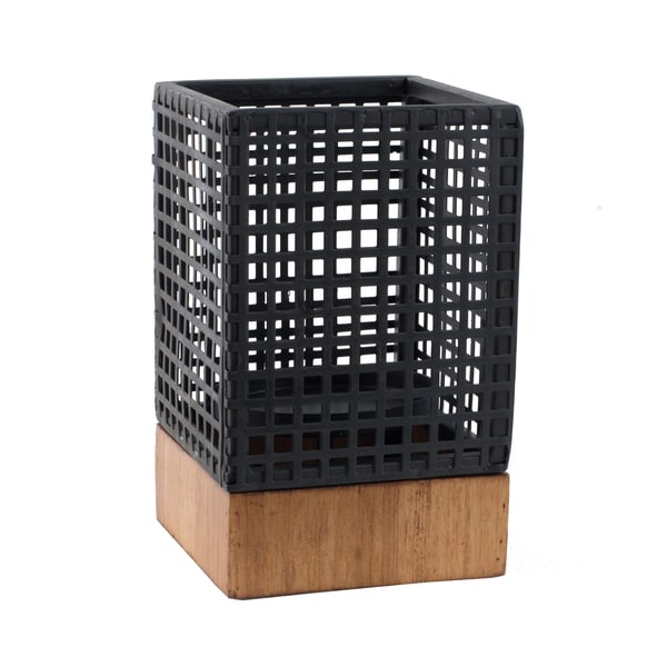 Black 8-inch Wood and Iron Geometric Candle Holder