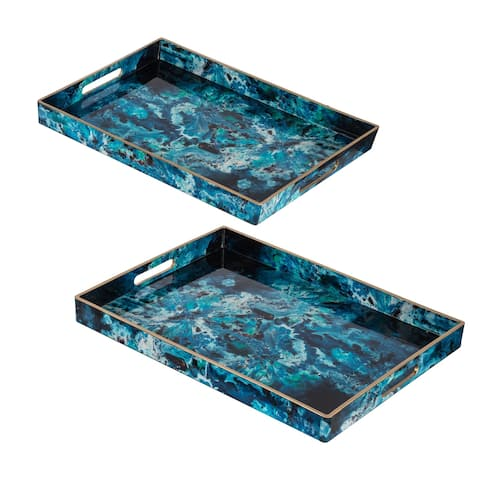 Blue and Black Abstract Marble Rectangular Trays