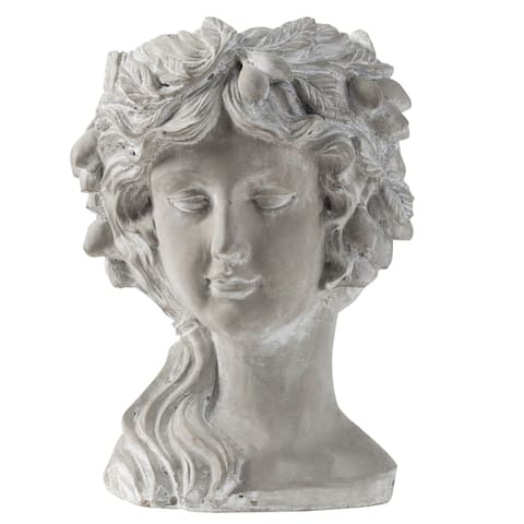 Whitewash Stone Regal Woman Head Planter
