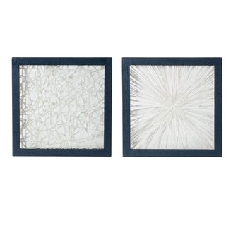 Ivory and Indigo Abstract Framed Wall Décor (Set of 2)