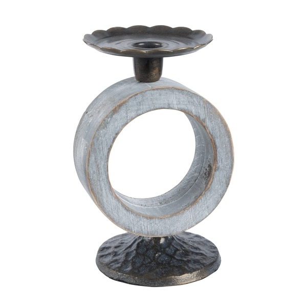 Whitewashed Wood and Hammered Iron 7-inch Candle Holder
