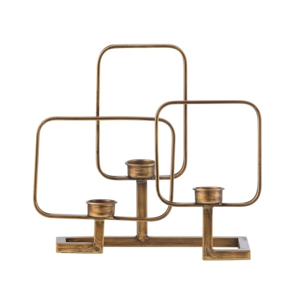 Vintage Gold 12-inch Geometric Candle Holder