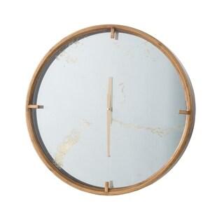 Brass 19-inch Mirrored Face Wall Clock