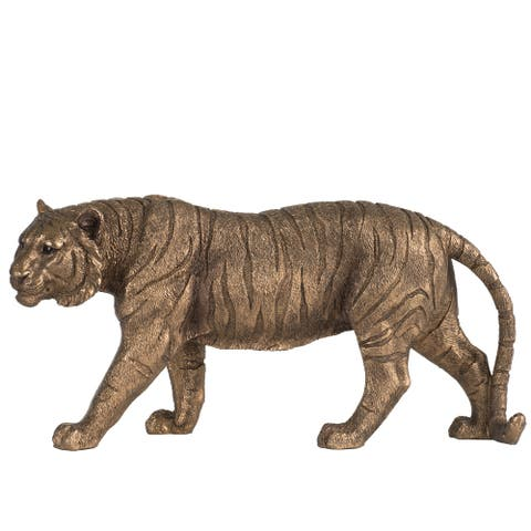 Copper 11-inch Powerful Stance Tiger Figurine