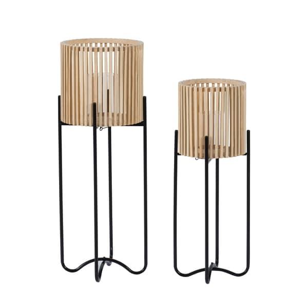 Natural Tan Barrel Shaped Vented Wood Floor Lanterns (Set of 2)