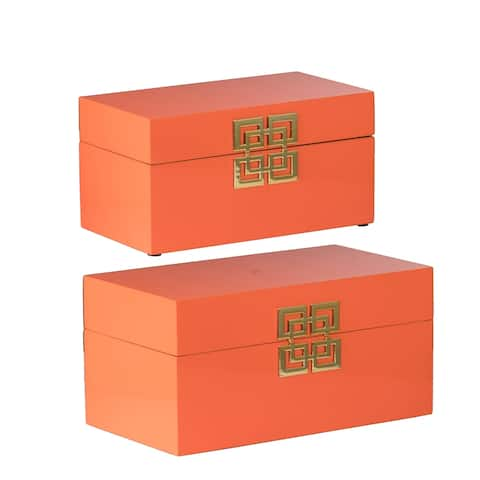 Orange Geometric Design Decorative Boxes (Set of 2)