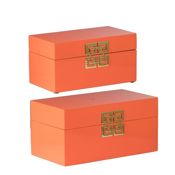 Orange Geometric Design Decorative Boxes (Set of 2)