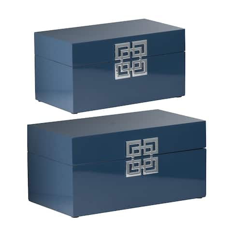 Blue Geometric Design Decorative Boxes (Set of 2)