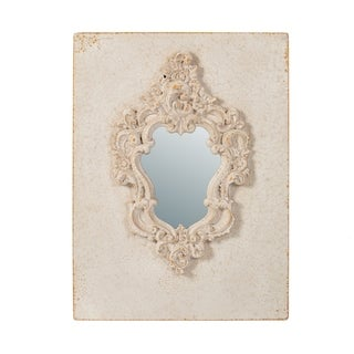 Antique White 31-inch Wall Decor with Aged Mirror