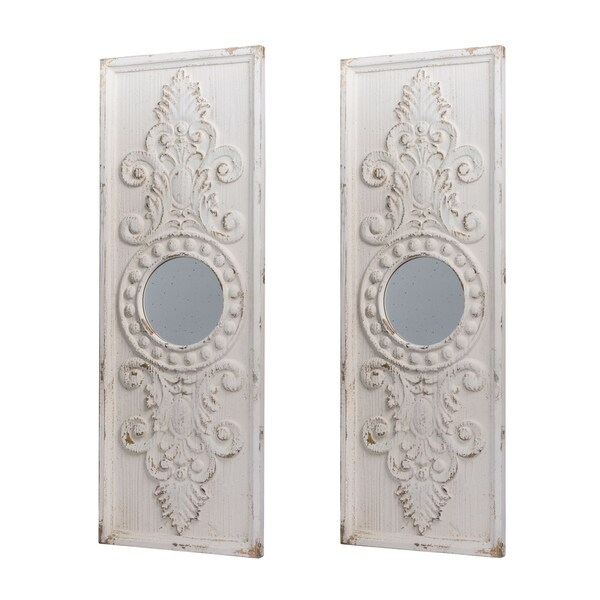 Southern Living French Country Antique White Scrollwork Two Panel Wall Décor