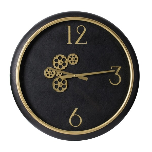 Black and Gold 24-inch Exposed Gear Clock