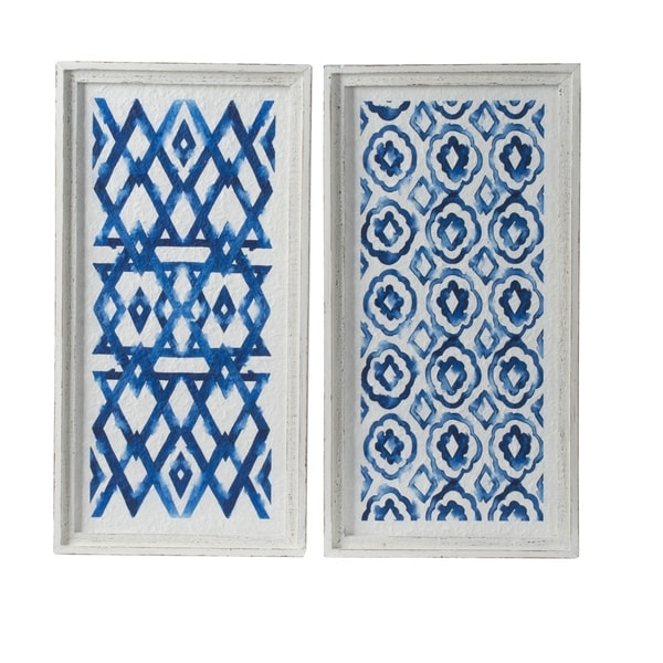 White and Indigo Patterend Framed Wall Décor (Set of 2)