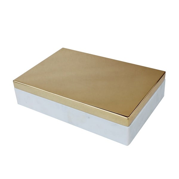 Silver Orchid Pezzaglia Large Marble and Polished Brass Lid Box