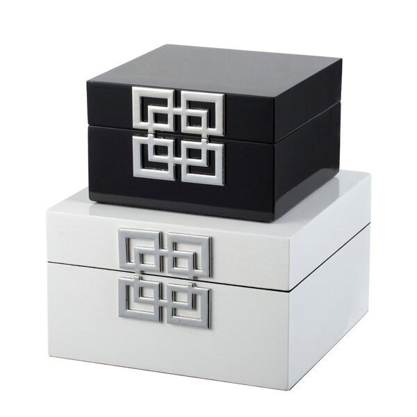 Black and White Geometric Design Square Decorative Boxes (Set of 2)