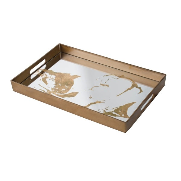 Bronze Rectangular Metal Decorative Tray with Side Handles