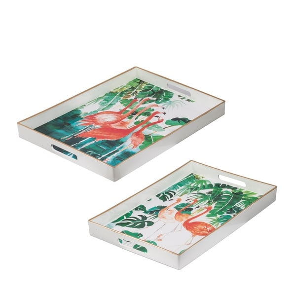 Quinn White and Pink Rectangular Trays (Set of 2)