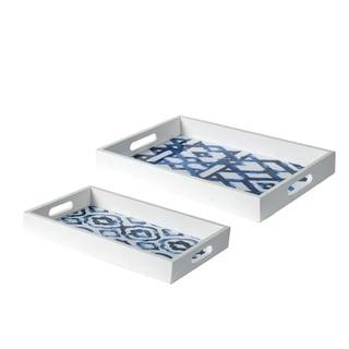 White and Indigo Patterned Rectangular Decorative Trays (Set of 2)