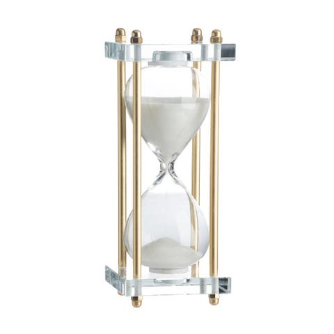 White and Gold 8-inch Industrial Hourglass