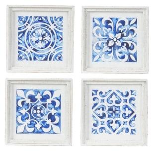 White and Indigo Square Framed Wall Décor (Set of 4)