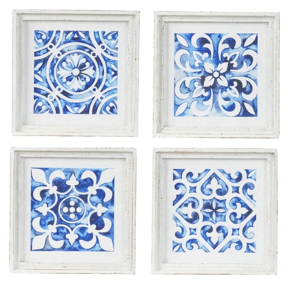 White and Indigo Square Framed Wall Décor (Set of 4)