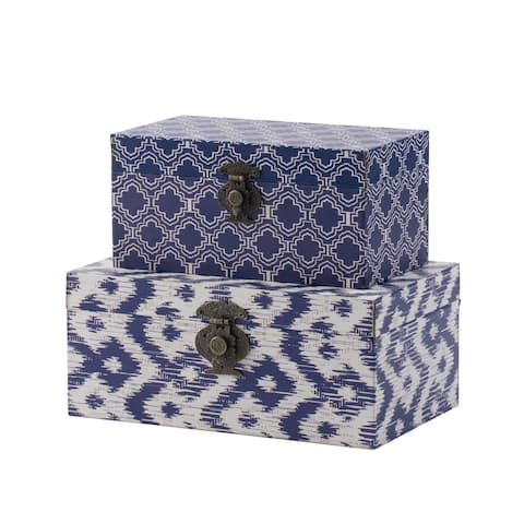 Bold Blue and White Decorative Boxes by Anthony Venetucci (Set of 2)