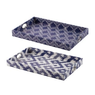 Bold Blue and White Trays by Anthony Venetucci (Set of 2)