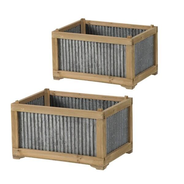 Weathered Brown and Galvanized Gray Rectangular Box Frame Planter (Set of 2)