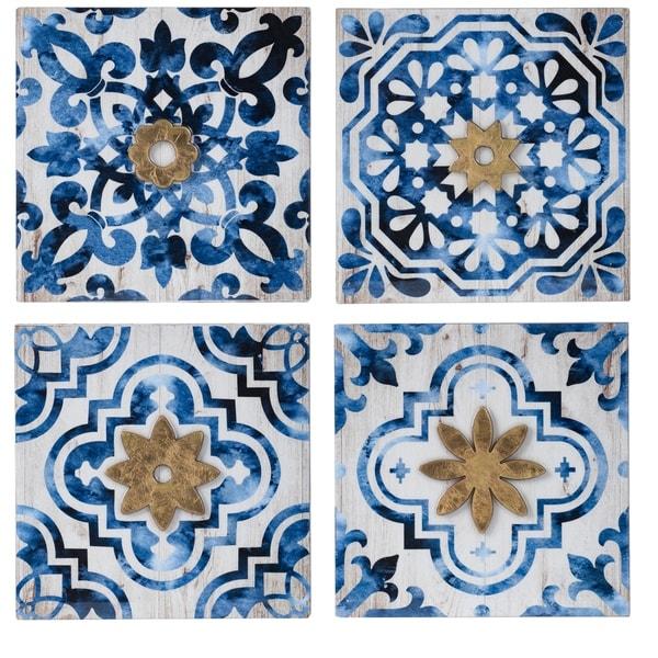 Crisp White and Indigo Decorative Wall Décor (Set of 4)