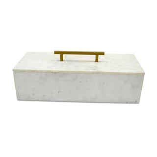Large Creamy White 15-inch Marble Box with Brass Handle