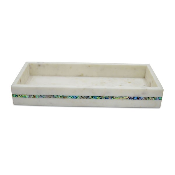 Creamy White Marble with Shell Inlay Tank Tray