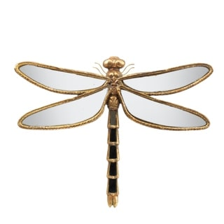 Antique Gold with Mirrored Wings Dragonfly Accent Décor