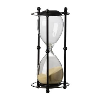 Tan Sand 13-inch Hourglass in Black Stand