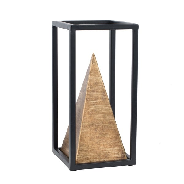 Gold and Black 10-inch Rectangular Iron Pyramid Table Décor