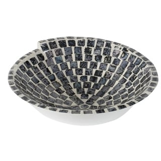 Vintage Glamour 15-inch Pearl Black and White Mosaic Tile Decorative Bowl