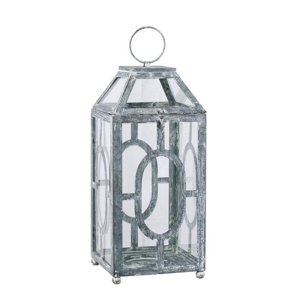 Distressed Black and White 19.5-inch Lantern