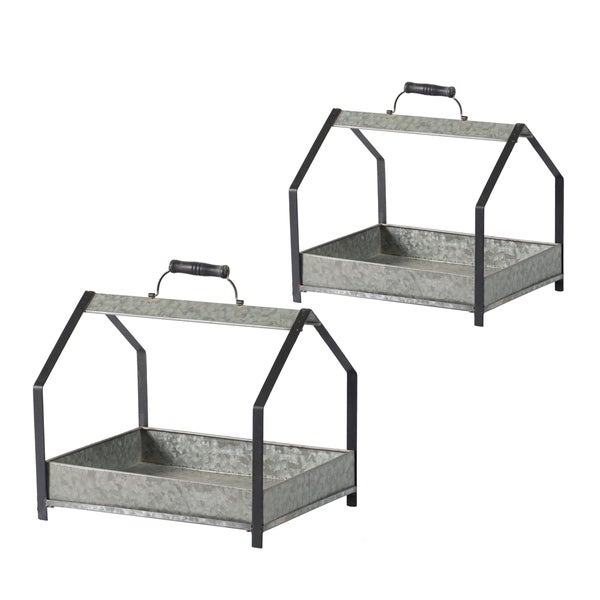 Black and Galvanized Gray Metal Plant Stand with Handles (Set of 2)