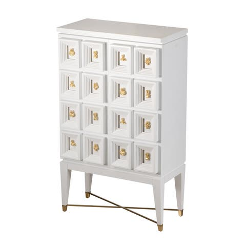 Cream and White 69-inch Wine Cabinet with Gold Pull