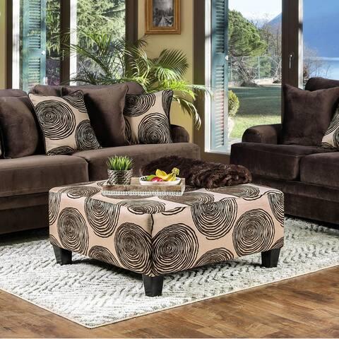 Furniture of America Jeta Contemporary Fabric Square Cocktail Ottoman