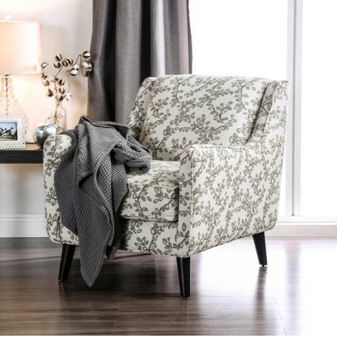 Furniture of America Feer Transitional Ivory Fabric Floral Armchair