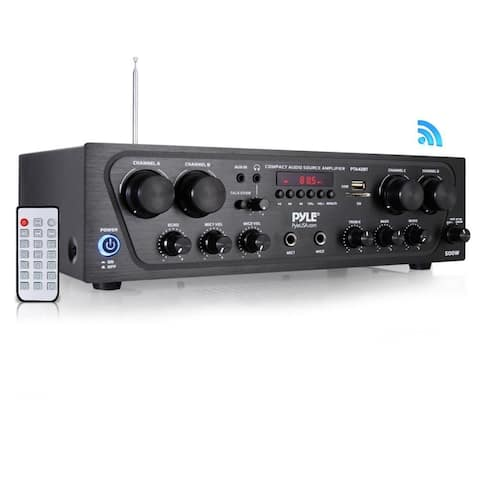 Pyle Compact Bluetooth Home Audio Amplifier, 4-Ch. Audio Source Stereo Receiver System with FM Radio (500 Watt)